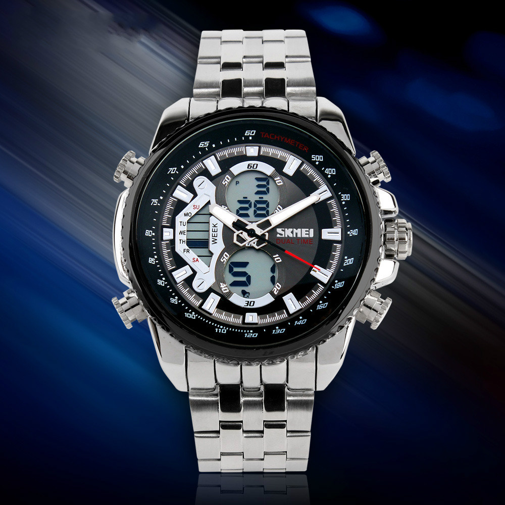 SKMEI High-end Multi-function Men's Watch Double Time Men's Quartz Watch Waterproof Electronic Watch