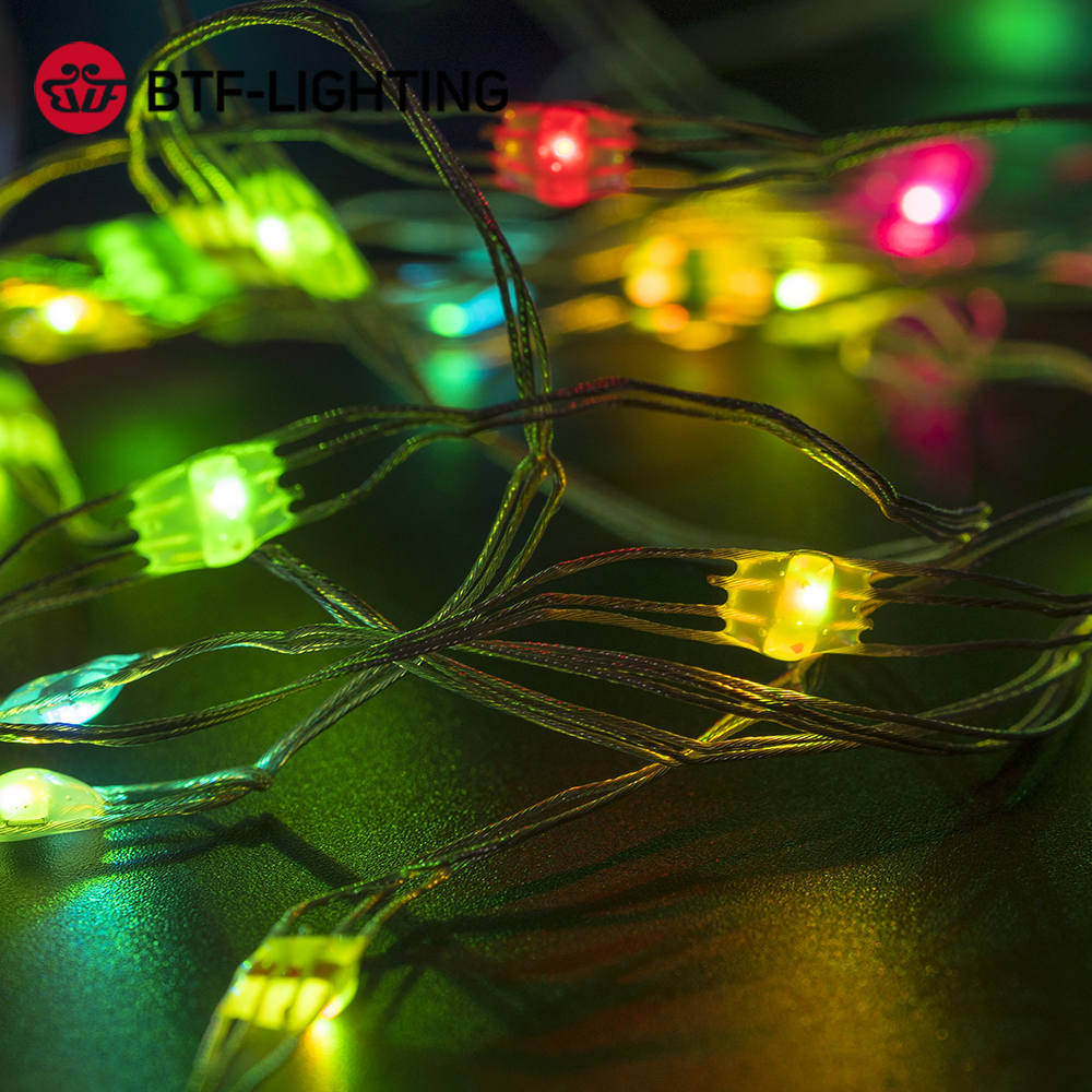 USB LED String Christmas Lights Battery for Bedroom WS2812B RGB Led Light Bluetooth Music Full Color Addressable Individually 5V