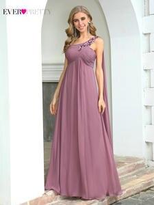 Женские розовые платья для свадьбы Ever Pretty EP00537, элегантные шифоновые платья а-силуэта с аппликацией для свадебной вечеринки
