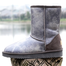 GY&YY  Genuine Leather Snow Boots Sheepskin Boots Women Winter Waterproof Wool Boots Sheep Fur Mid-Calf  Non-slip Fur Shoes 42 цены онлайн