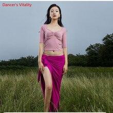 Nowa jesienna konstrukcja ciepły kostium Bellydancing dorosłych zespół taniec orientalny pokaz taneczny nosić bluzka zawiązywana długa spódnica bezpłatna dostawa