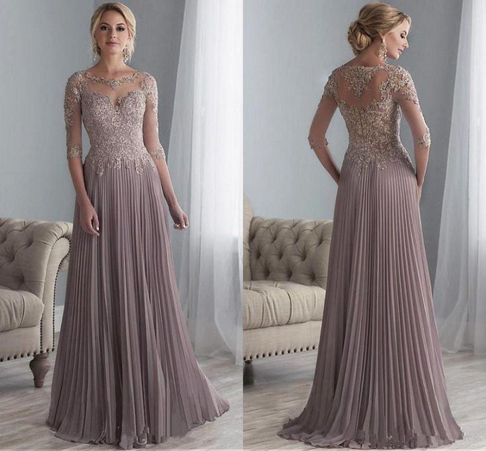 Mother-Of-The-Bride-Dresses Beaded Appliques A-Line Chiffon Wedding Long Plus-Size Half-Sleeves