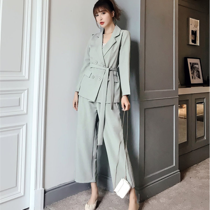 HziriP Brief Chic 2019 New Autumn Office Ladies Sashes Solid OL Blazers + Vintage Casual Ankle Length Pants Set 2 Pieces Sets