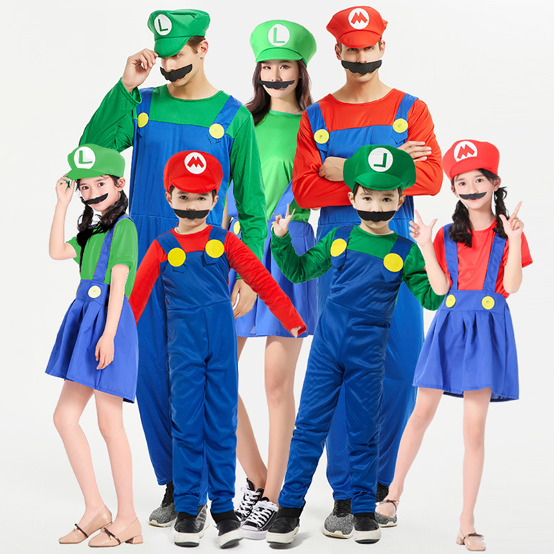 Super Mario Luigi Brother Cosplay Costumes Onesies For Adults Kids Costume Party Carnival Costume For Children Fantasia Jumpsuit