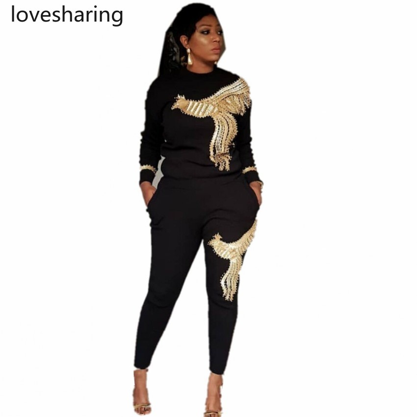 2020 Winter Spring Long Sleeve Tracksuit Sportswear Office Phoenix Sequined Sweatshirt+ Pant 2pcs Women's Set Outfits Suit AM306