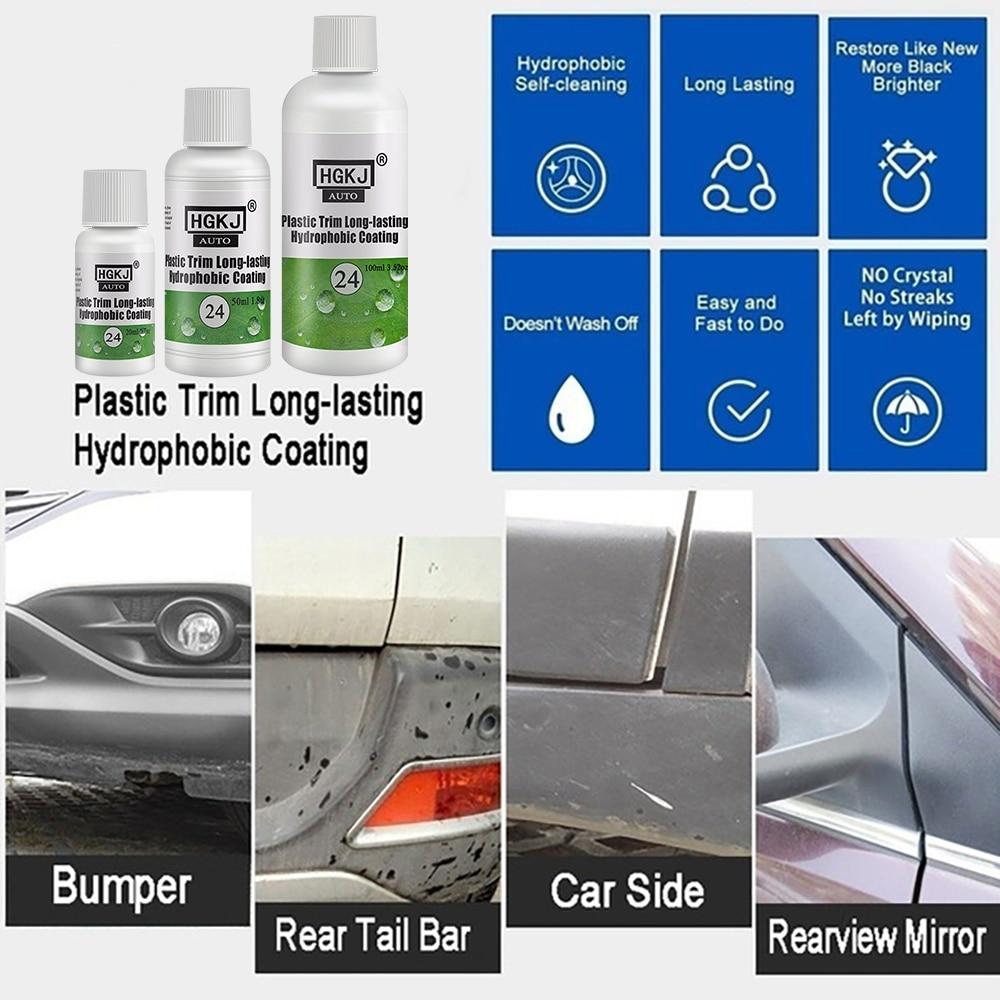 Пластиковое покрытие для отделки HGKJ, долговечный Гидрофобный комплект для ремонта внешнего и пластикового покрытия автомобиля, Керамическ...
