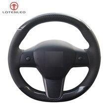 LQTENLEO 블랙 정품 가죽 탄소 섬유 손으로 꿰매어 진 자동차 핸들 커버 테슬라 모델 3 2015 2020 모델 Y 2019 2020