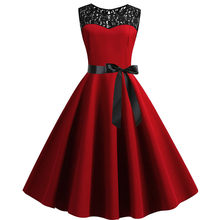 2019 sommer Frauen Spitze Vintage Kleid Rot Polka Dot Schaukel Retro Robe Party Kleider 50s 60s Rockabilly Pin up Kleid Vestidos O4(China)