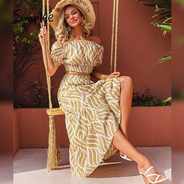 Simplee Holiday off shoulder women dress sets Elastic high waist puff sleeves dresses Stripe split sexy beach dress summer 2021 2