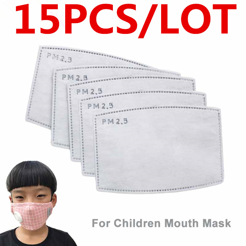 15PCS PM 2.5 Mask Filter Anti Haze 5 Layers N95 Mask Activated Carbon Filter Replaceable For Adult Mouth-muffle Mask Health Care