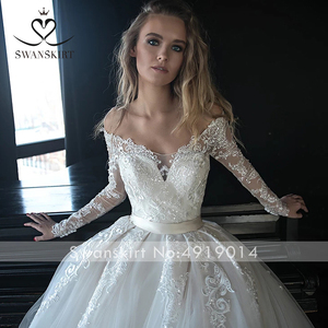 Image 5 - Vestido de novia de manga larga, encantador, ilusión de apliques, corte de encaje, tren, SWANSKIRT, HZ01