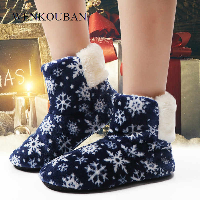 Women Winter Ankle Boots Warm Indoor Floor Shoes Ladies Fur Snowflake Snow House Boots Contton Bootie Anti-Skid Botas Feminina