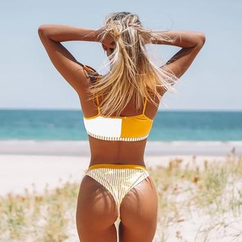 Bikini Bandeau en naranja y blanco para mujer, traje de baño Sexy con Tanga, bañador de dos piezas 6