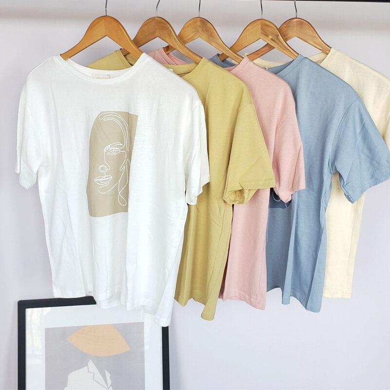 Abstract T-shirts Character Printing Women Tops Solid Color Summer White Cotton Tops Tees Harajuku Clothing