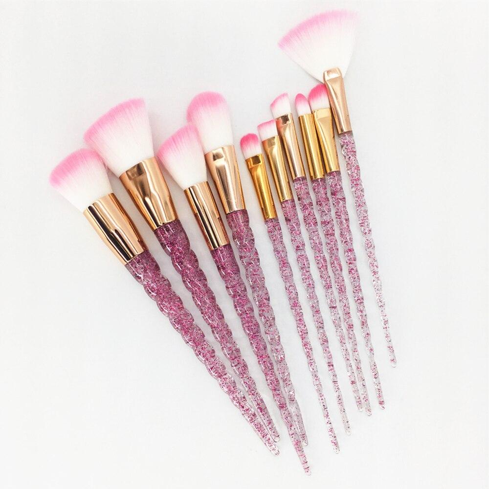10pcs Unicorn Makeup Brushes Set Diamond Crystal Handle Blending Foundation Powder Eyeshadow Eyebrow Brush Beauty Make Up Tools
