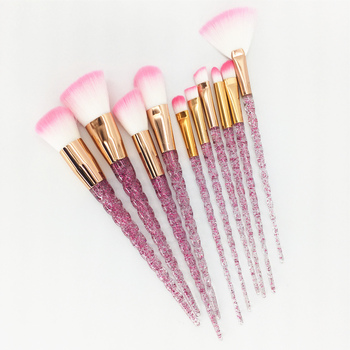 10pcs Unicorn Makeup Brushes Set Diamond Crystal Handle Blending Foundation Powder Eyeshadow Eyebrow Brush Beauty Make Up Tools