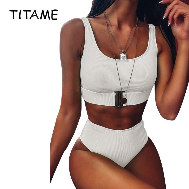 TITAME Women 2020 Sexy Bikini Set High Waist Swimsuit Women Swimwear Bandeau Push Up Bikini Set Buckle Bathing Suit Beach Wear
