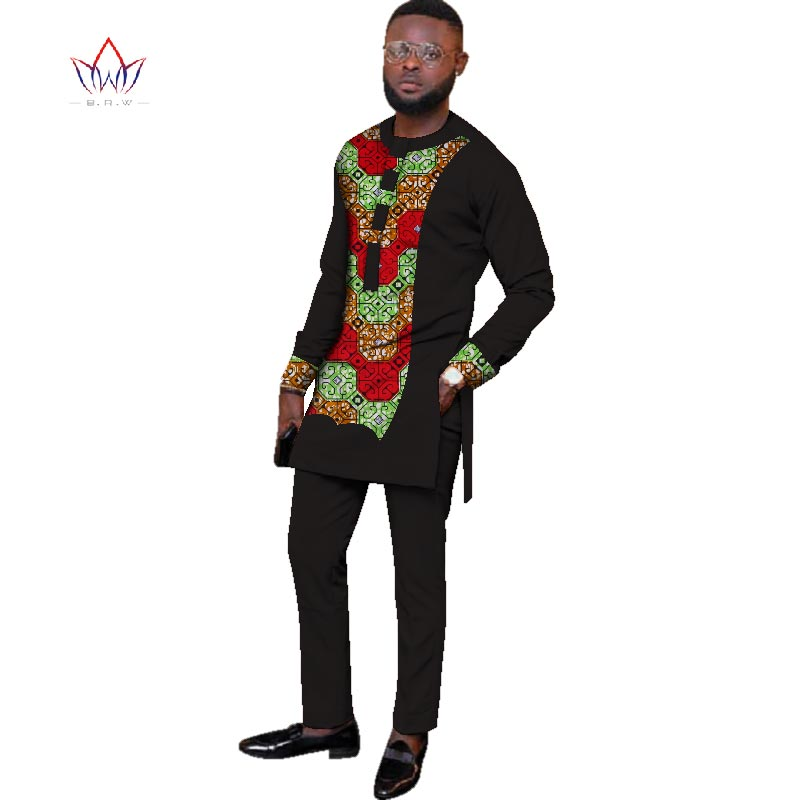 2020 Natural Autumn Mens African Clothing Plus Size 6XL Dashiki Men 2 Pieces Plus Size African Mens Cotton Clothing BRW WYN427