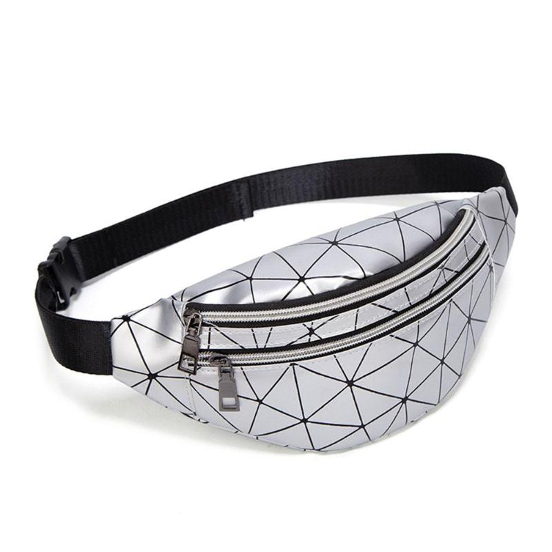 Hot Sale Handbags Classic Delicate Texture Holographic Waist Bags Women Fanny Belt Pack Geometric Leather Chest Phone Pouch