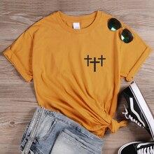 ONSEME Jesus Cross T Shirt Christian Shirts Womens Religious Vertical Graphic Tshirt Cotton Tees Female Casual Tops