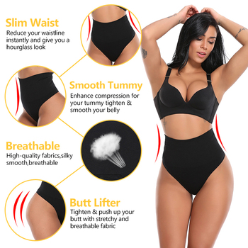 Women Thong Panty Shaper High Waist Tummy Control Panties Slimming Underwear Waist Trainer Shaping Briefs Butt Lifter Shapewear