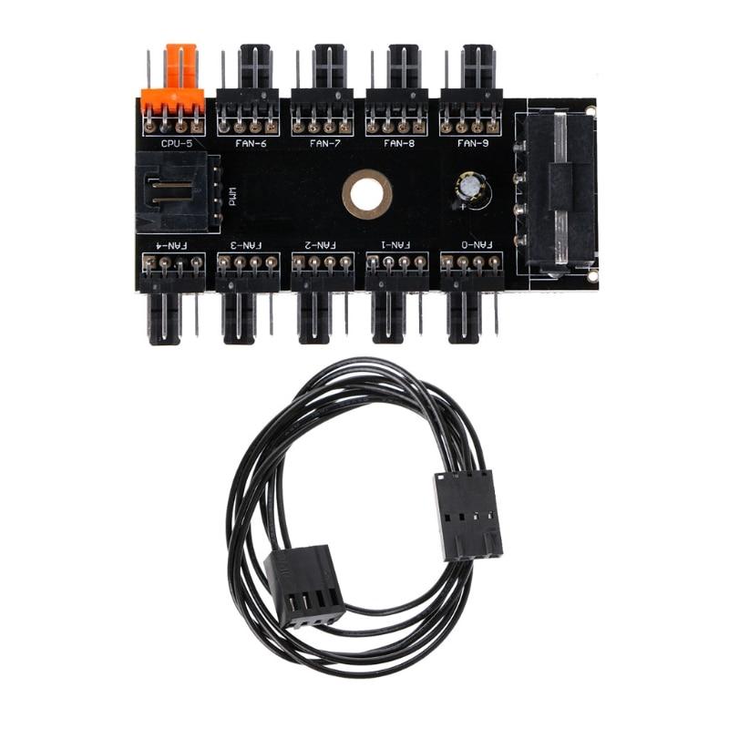 IDE Molex 1 To 10 Way PWM Cooling Fan Hub 4-Pin 12V Power Socket PCB Adapter
