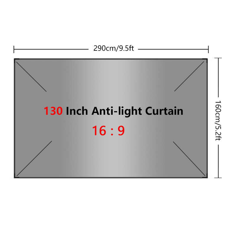 프로젝터 간단한 커튼 안티 라이트 스크린 60 72 84 100 120 130 인치 홈 야외 사무실 휴대용 3d HD 프로젝터 스크린 새로운