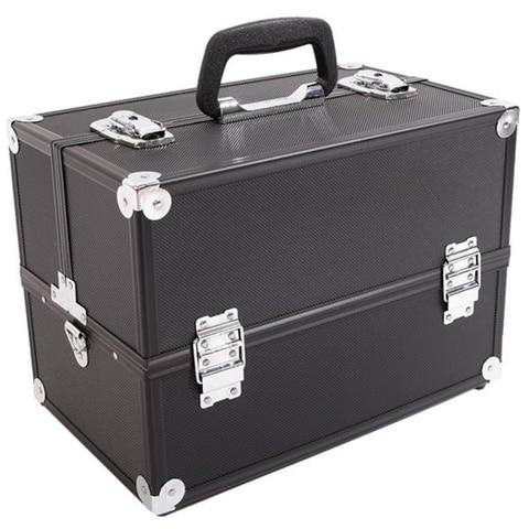 caso comboio maquiagem organizador de joias caixa de liga de aluminio preto caixa de colecao