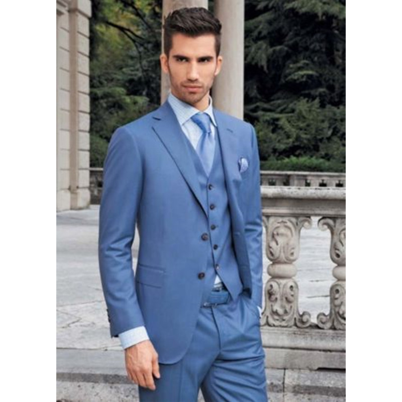 Customize Made Men Suit Latest Coat Pant Designs Bussiness Suit Brand Terno Wedding Suit Blue(Jacket+Pants+Vest) A144