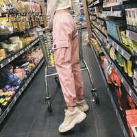 Cotton High Waist Cargo Pants 2019 Spring Pink Khaki Black Female Trousers
