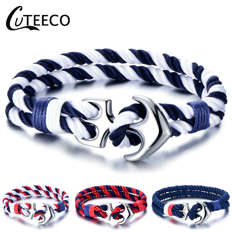 CUTEECO Fashion Sports Bracelets Stainless Steel Anchor Bangles Braided Rope For Women Men Navy Style Gifts