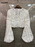 Crop Tops 2020 Spring Summer Fashion Sexy Blouses Women Hand Made Beading Sexy Crochet Embroidery Long Sleeve White Blue Top