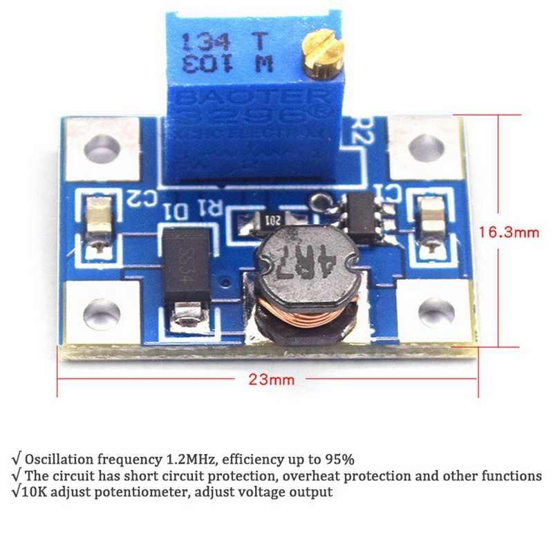 DC-DC SX1308 Langkah Adjustable Power Modul DC DC Step Boost Converter Menyesuaikan Power Supply 2-24V untuk 2-28V 2A Diy Kit #9