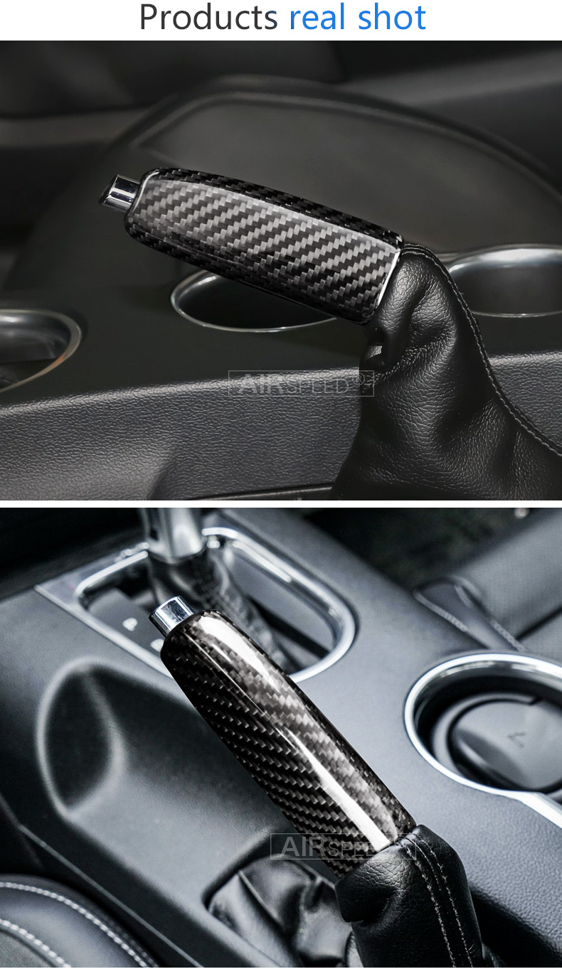 Airspeed Real Carbon Fiber Car Replace Handbrake Grips Cover for Ford Mustang 2015 2016 2017 2018 2019 Accessories Interior Trim