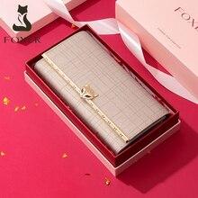 FOXER 여성 패션 발렌타인 데이 선물 지갑 여성 소 가죽 클러치 백 카드 홀더 레이디 럭셔리 동전 지갑 세련된 저녁 가방