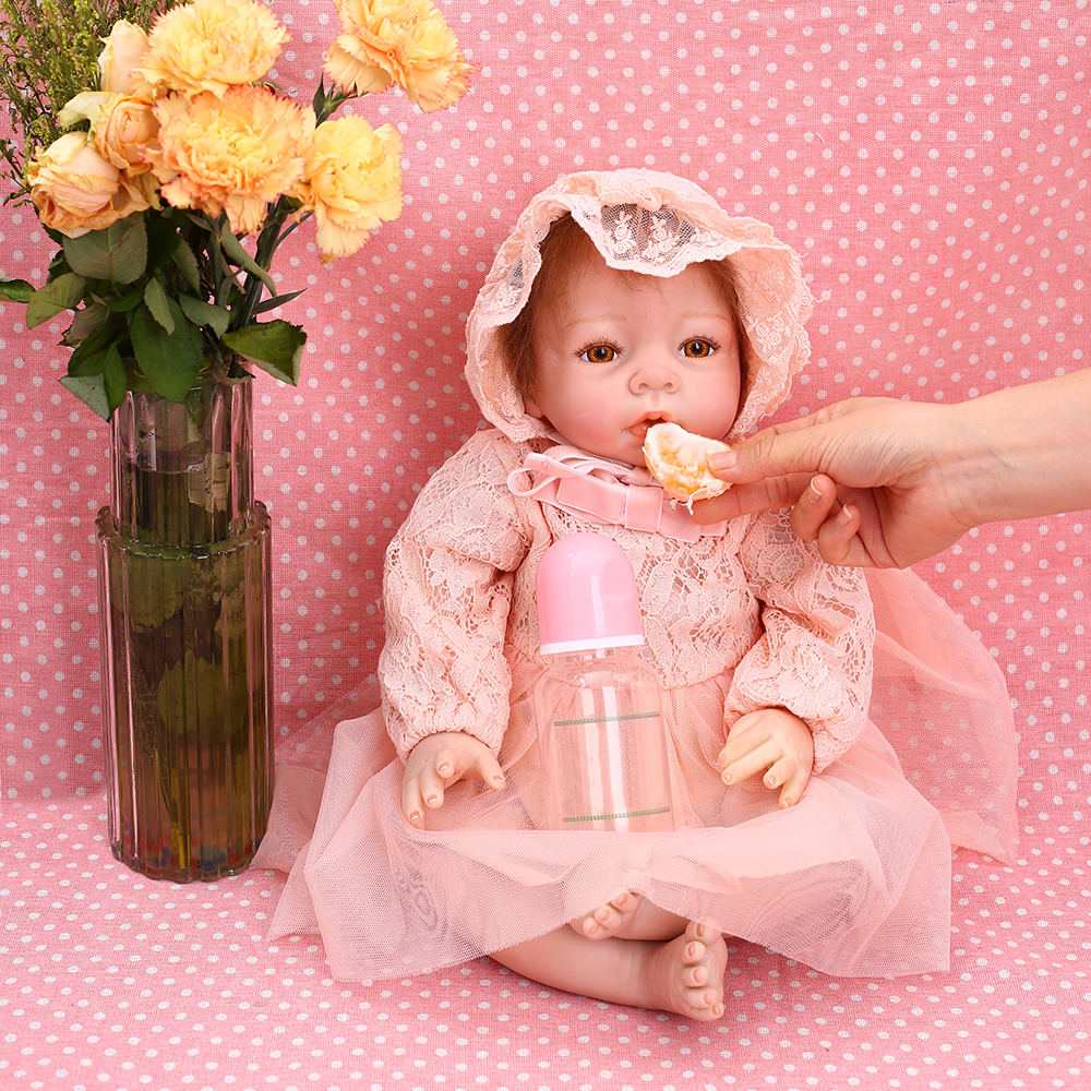 Image 2 - 22 inch Reborn Dolls Little Princess Silicone Baby Realistic Doll Kids Playmates Pink Dress Lifelike Bebe Newborn Dolls 55cm-in Dolls from Toys & Hobbies