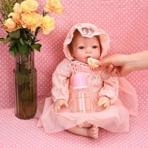 Image 2 - Reborn Baby Poppen 22 Inch Prinsesje Silicone Baby Realistische Pop Kid Speelgoed Roze Jurk Levensechte 55Cm Bebe Reborn pasgeboren Pop