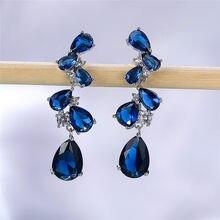Vintage femme bleu Zircon pierre boucle d'oreille Rose or argent couleur balancent boucle d'oreille mignon arc-en-ciel géométrique mariage boucles d'oreilles pour les femmes