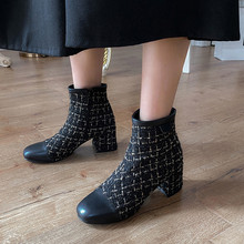 ochanmeb Women Ankle Boots Brand Tweed Shoes Block Heels Square Toe Short Boots Shoes Ladies Woman Size 12 46 Botas Mujer 2021