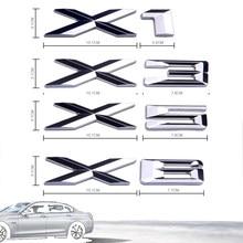 Logotipo do carro traseiro emblema decalque adesivo x1 x3 x4 x5 x6 gt forma acessório 3d logotipo cromo prata carta plástico abs durável compatível