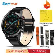 2020 nowy Microwear L16 inteligentny zegarek mężczyźni IP68 wodoodporny smartWatch 360*360 ekg ciśnienie krwi tętno sport fitness Smartwatch tanie tanio CN (pochodzenie) Android OS Na nadgarstku Wszystko kompatybilny 128 MB Passometer Fitness tracker Uśpienia tracker