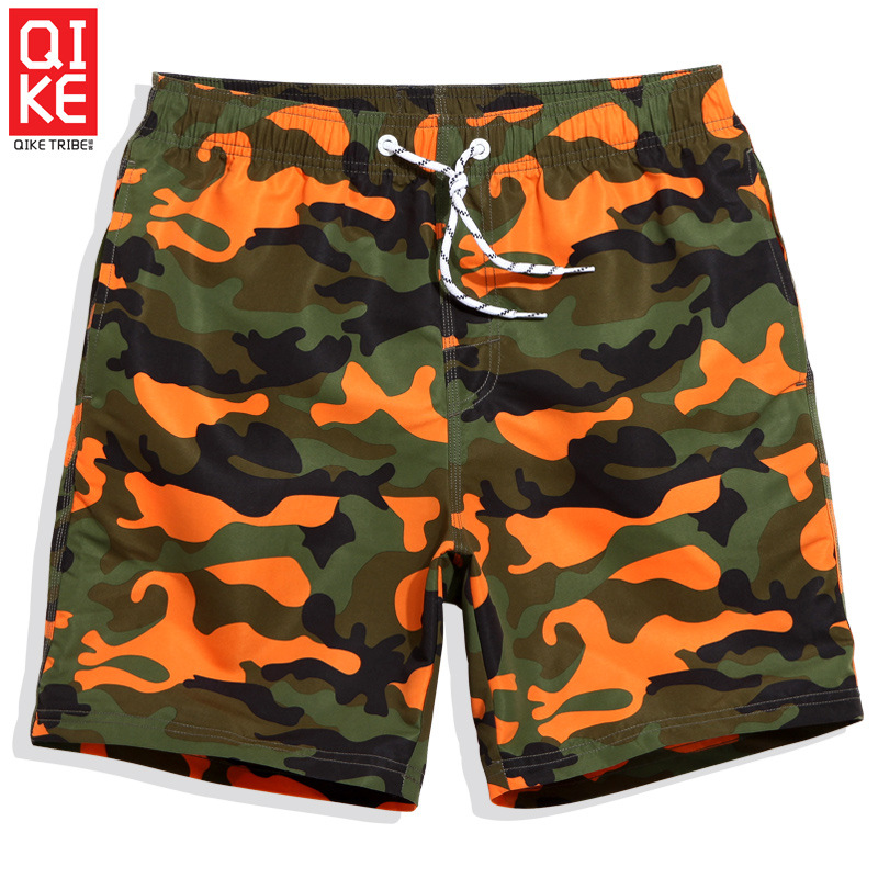 Qike Couple's Beach Pants Men's Beach Holiday Quick-Dry Swimming Trunks Loose Big Yards Camouflage Print Boxer Shorts Men's