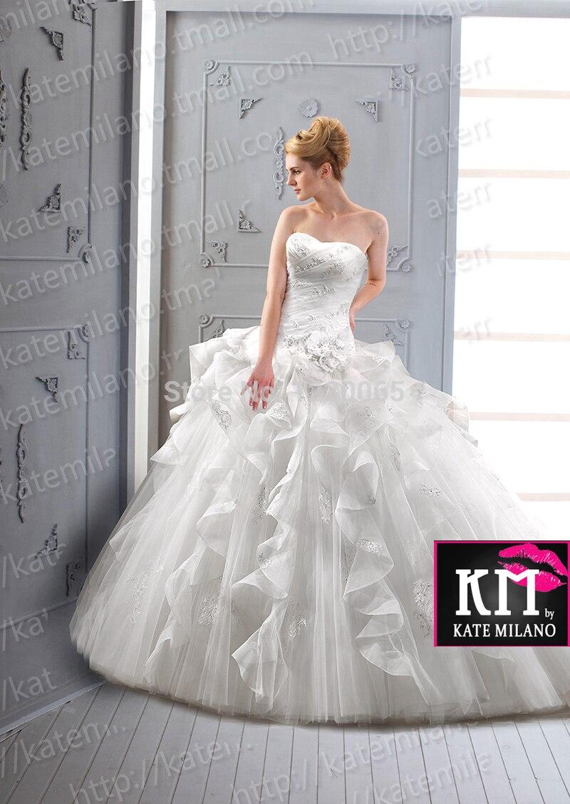 Sweetheart Wedding Dress Ball Gown Ruffles 2015 Free Shipping Appliques Vestido De Noiva Casamento Romantic New Robe De Mariage