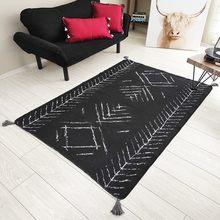 TÜRK Kilim Halı Siyah Beyaz Oda Salon Mutfak Iskandinav Desen 01 Çift Tarflı Dokuma Kilim 80 x 150 cm