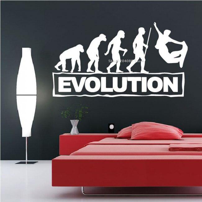 Snowboarding Evolution Wall Sticker Extreme Sport Vinyl Home Decoration Mural child Bedroom Dorm Poster Removable Decal DG387