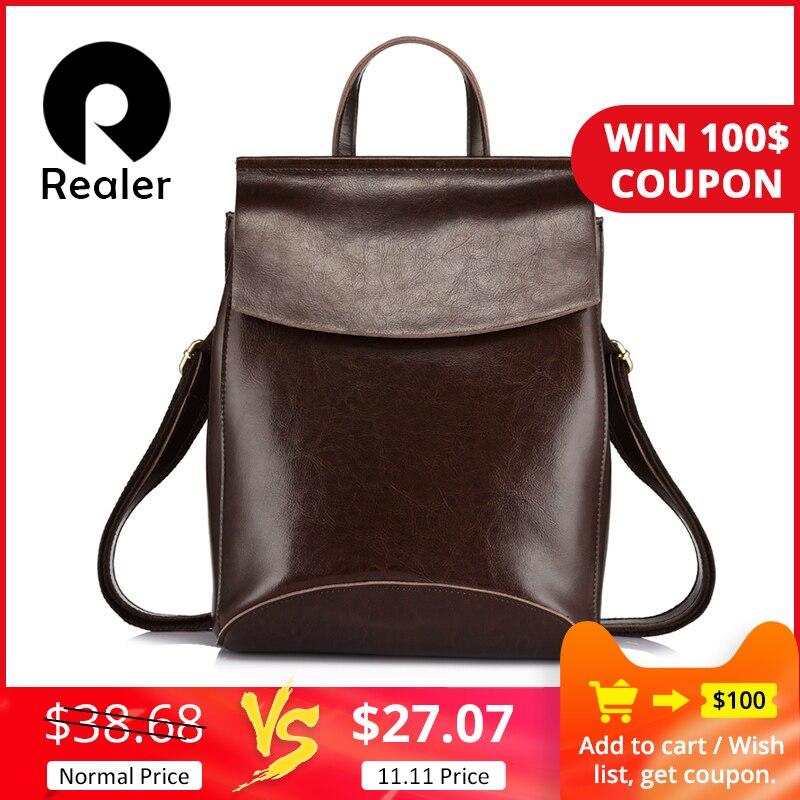 Mais real feminina mochila de couro rachado sacos de escola para meninas adolescentes alta qualidade feminino multifuncional viagem mochilas saco das senhoras