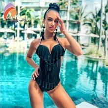 Andzhelika 2019 חדש חתיכה אחת בגד ים נשים מוצק בגדי ים Monokini בגד גוף רשת בגד ים לדחוף למעלה קיץ חוף רחצה חליפות