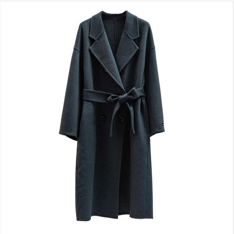 2020 Herfst Winter Wollen Jas Enkele Breasted Maxi Coat