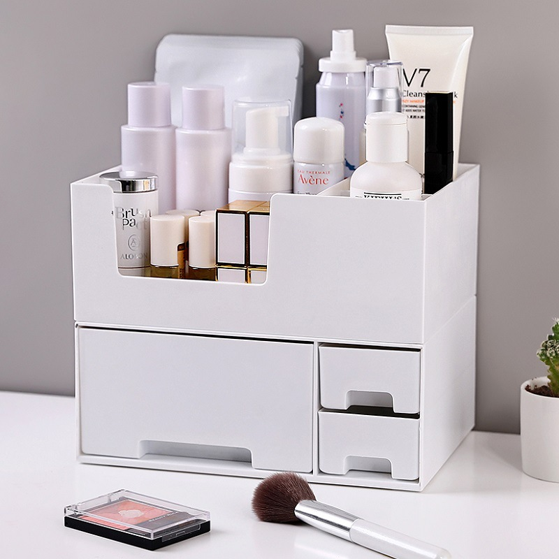 Sanqing Flower Drawer-type Makeup Storage Box Simple Solid Color Cosmetic Box Japanese Style Double Layer Desktop Organizing Rac