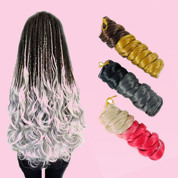 22 Inches Ombre Braiding Hair Big Wave Curly Two-Color Mixed Crochet Braid Knitted Synthetic - discount item  40% OFF Synthetic Hair